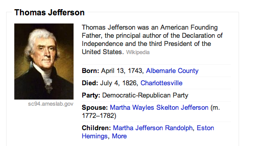Thomas Jefferson Google Knowledge Graph Example