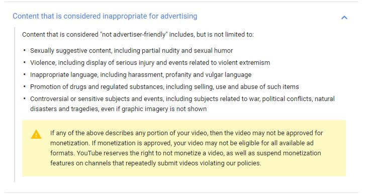 YouTube Ad Guidelines