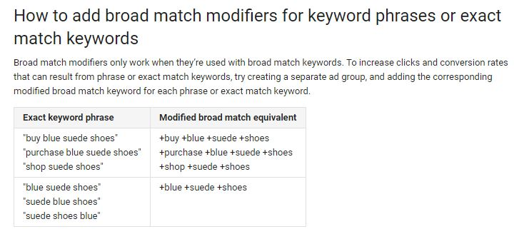 broad match modifier