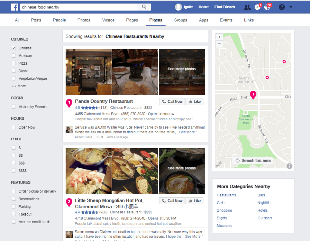 facebook search for restaurants