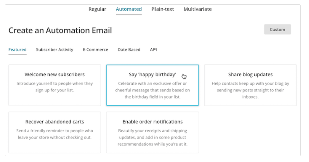 Personalized email marketing in MailChimp