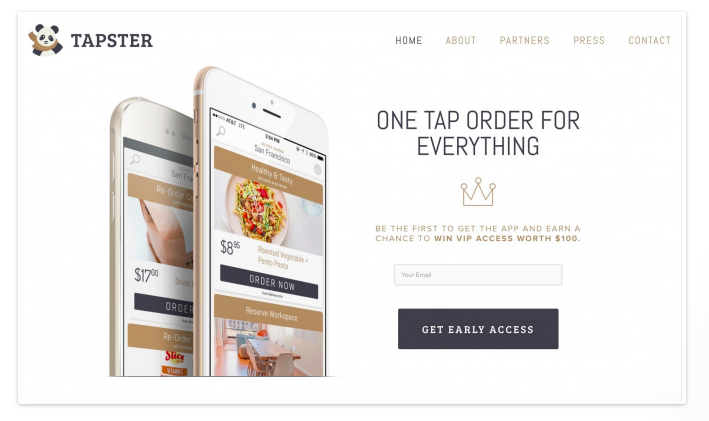 Tapster new product launch landing page