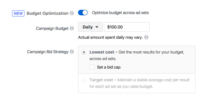 Setting up budget optimization for your Facebook campaign