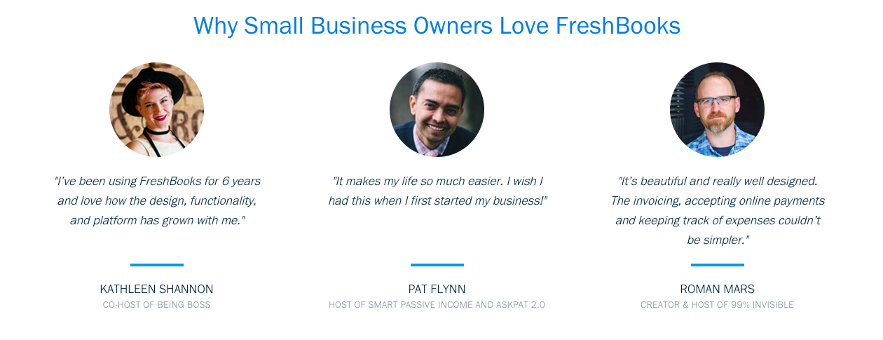Increase conversions by using social proof, like FreshBooks does here