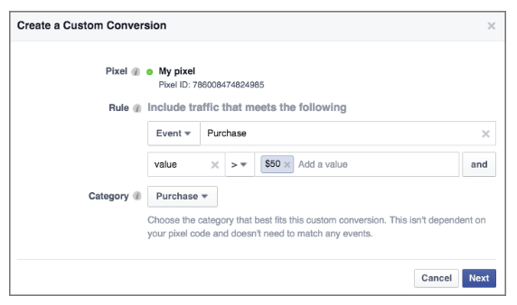 Optimize your Facebook PPC buy using custom conversions