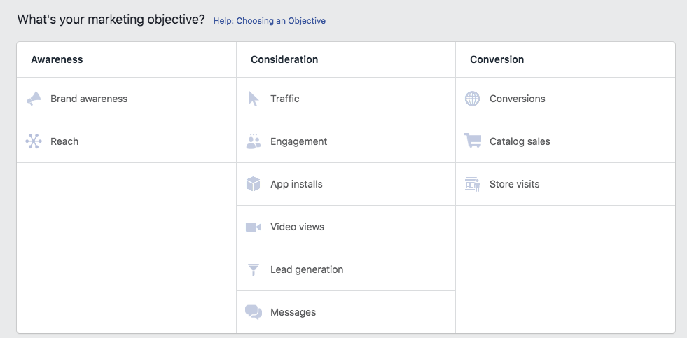 Facebook Instant Experiences: ad objectives