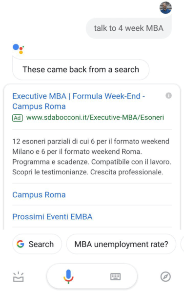 Google Assitant ads are popping up in mobile search results