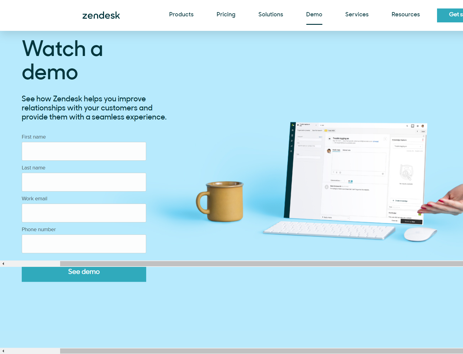 A high converting landing page keeps things simple, like this example from Zendesk