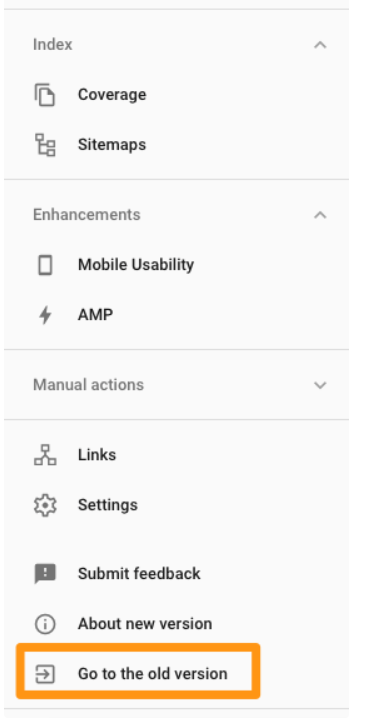 Go to the old Google Search Console to use the Change of Address tool during a website migration