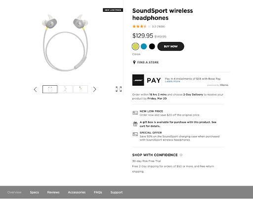 Example of Bose ecommerce page, utilizing white space