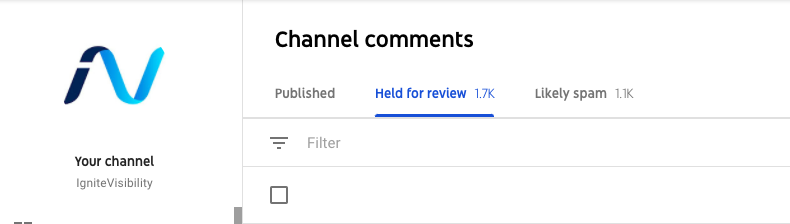 YouTube studio feature, monitor comments